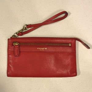 Red Leather Coach Wristlet